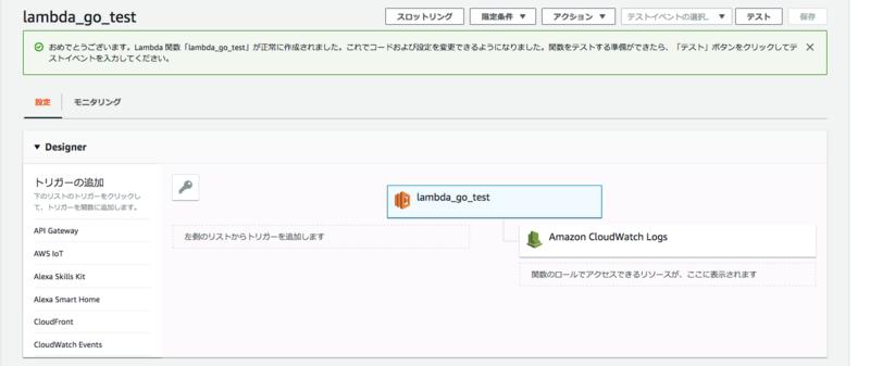 8_AWS Lambda関数作成完了画面