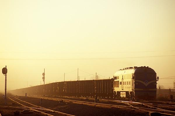 080211朝の三家子駅に入る東風4貨物
