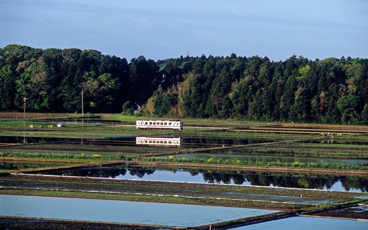080506水田を走る湊線一番列車