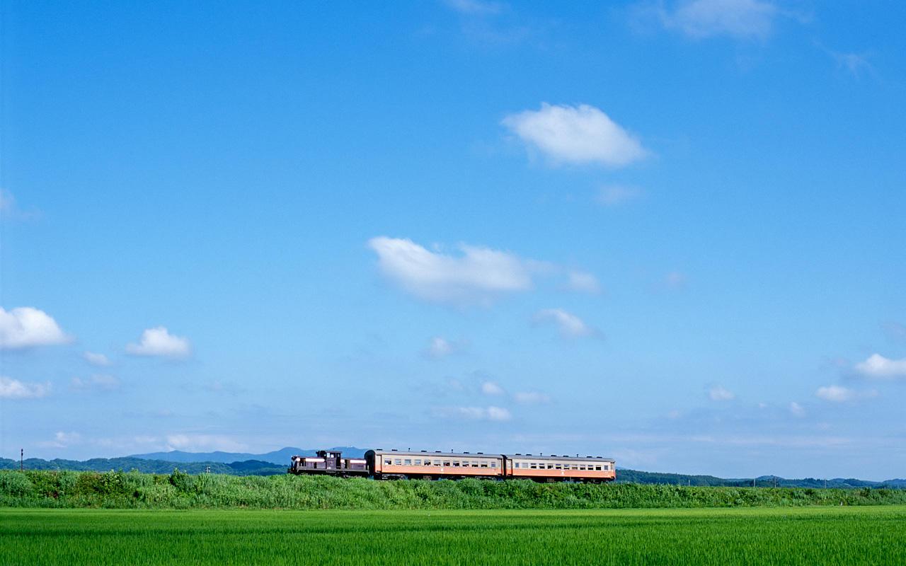 080804金木の築堤を走る客車列車