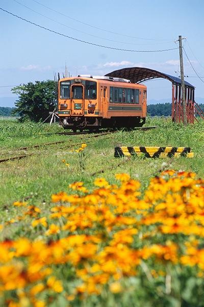 080805津軽飯詰の花壇と駅に入るメロス号
