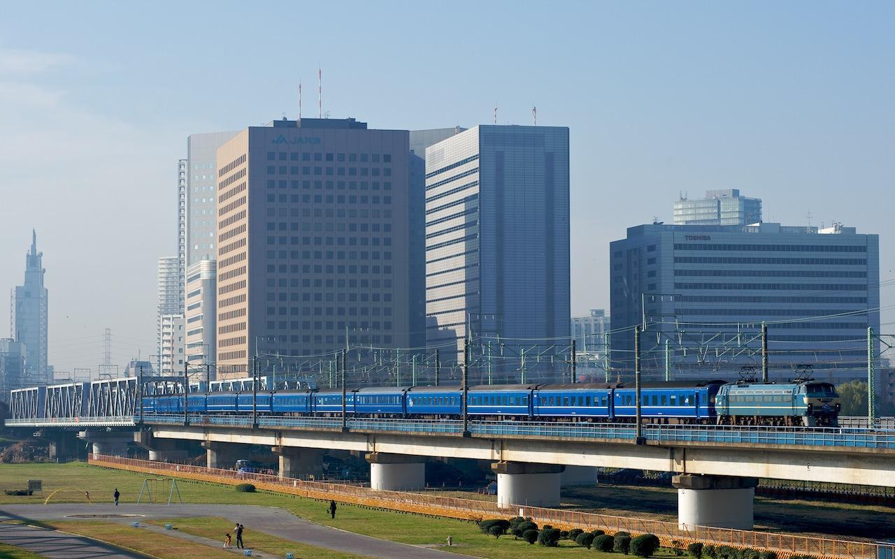 081221 六郷川橋梁を渡る富士・はやぶさ