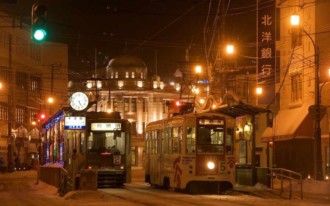 081228 函館市電十字街の夜
