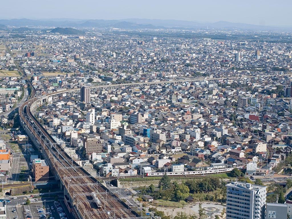 071021岐阜シティ・タワー43スカイラウンジより西側を臨む