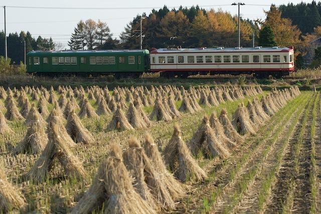 101113 稲藁の前に走る旧型電車