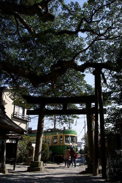 100130 御霊神社の前を過ぎる江ノ電305F