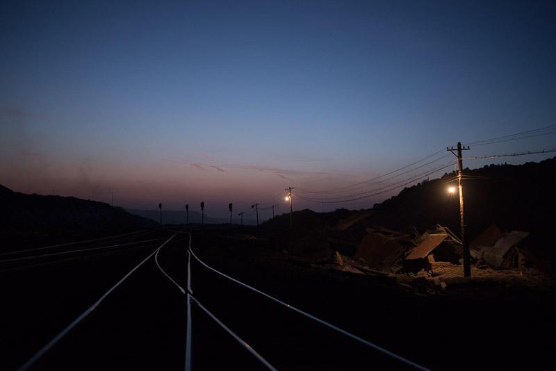 151229 残照に光る線路