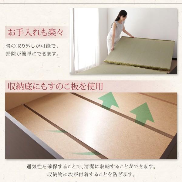 布団が収納できる棚・コンセント付き畳ベッド い草畳 セミダブル