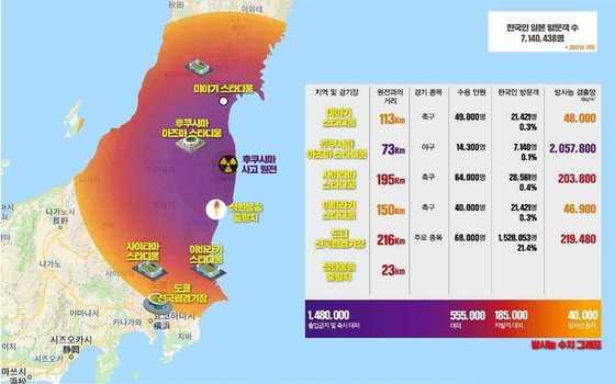 韓国与党「共に民主党」が作成した「放射能汚染地図」