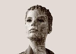 プリント基板を投影された女性