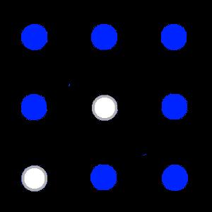 中心グリッドと周辺グリッドの1つが関係しあって互いが0となるか、あるいは対消滅する