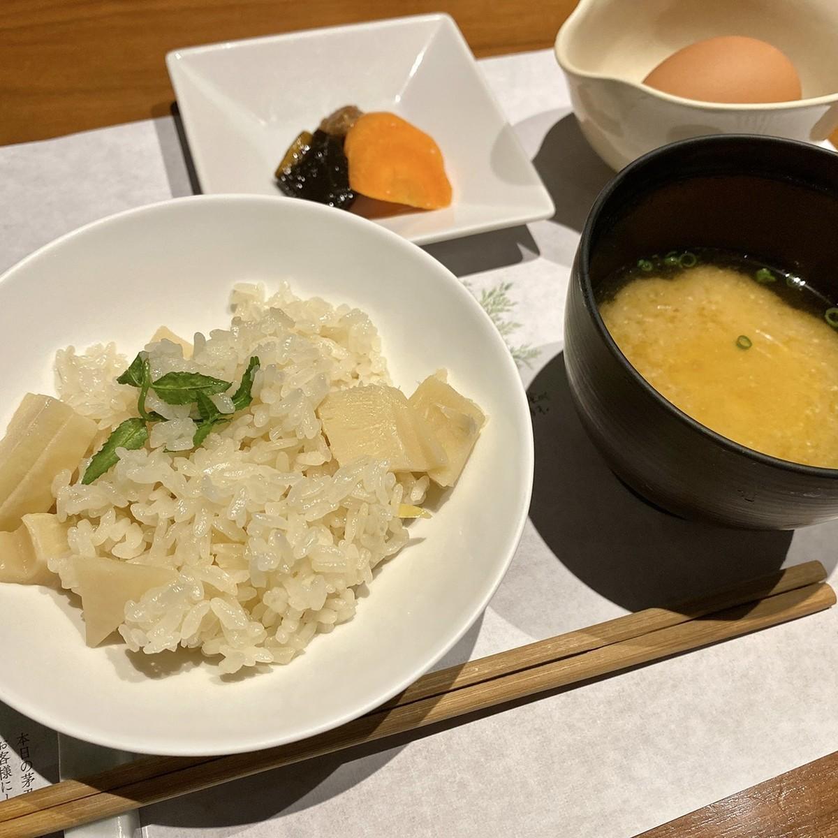 筍の窯炊きご飯 味噌汁 季節の香の物