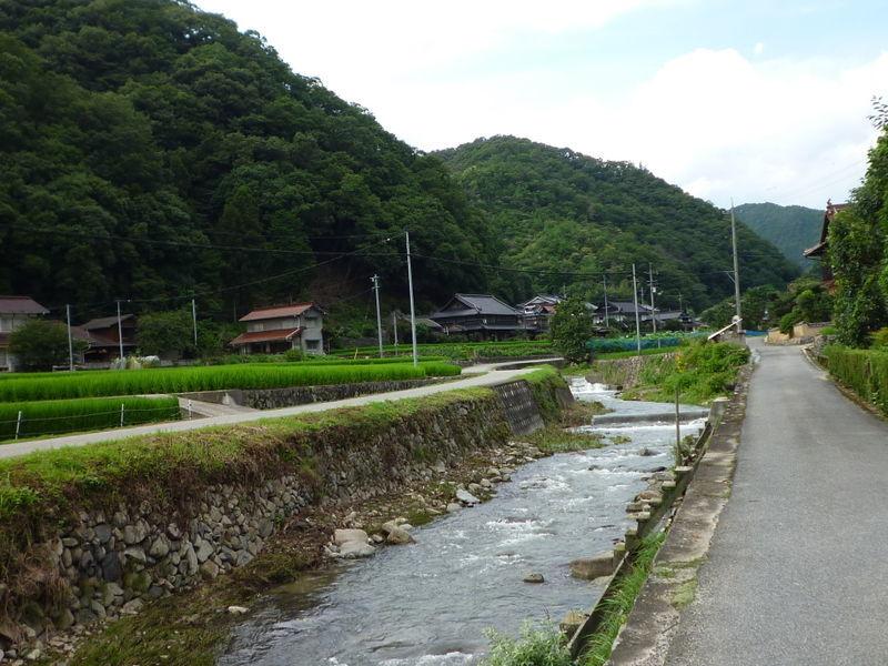 山間の農村に流れる小川