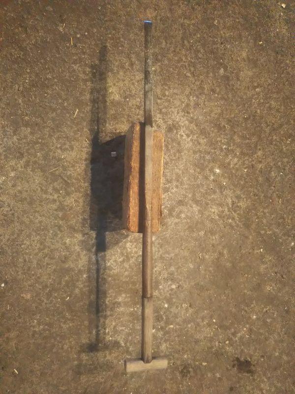 先端を修理された突き棒