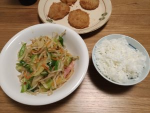 2018/10/24 夕食 野菜炒め