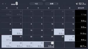 2018/08 走行距離カレンダー