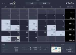 2019年2月の練習状況カレンダー