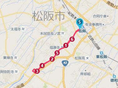 松阪市で走ったルート地図