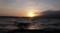 佐渡 白波立つ加茂湖の夕暮れ