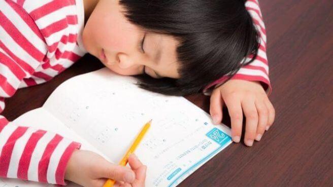 勉強中に居眠りをする少女の画像