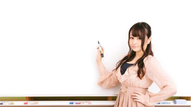 ホワイトボードの前に立つ女性の画像