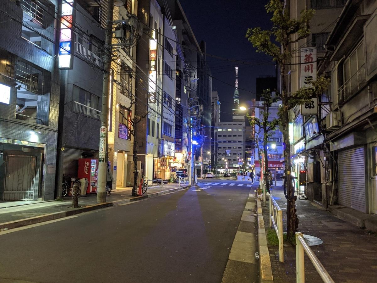 コロナウイルスの影響を受けている週末の錦糸町