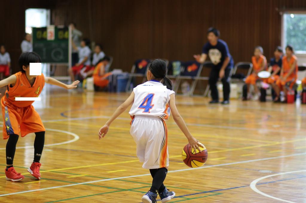 女子ミニバスケットボールドリブル写真