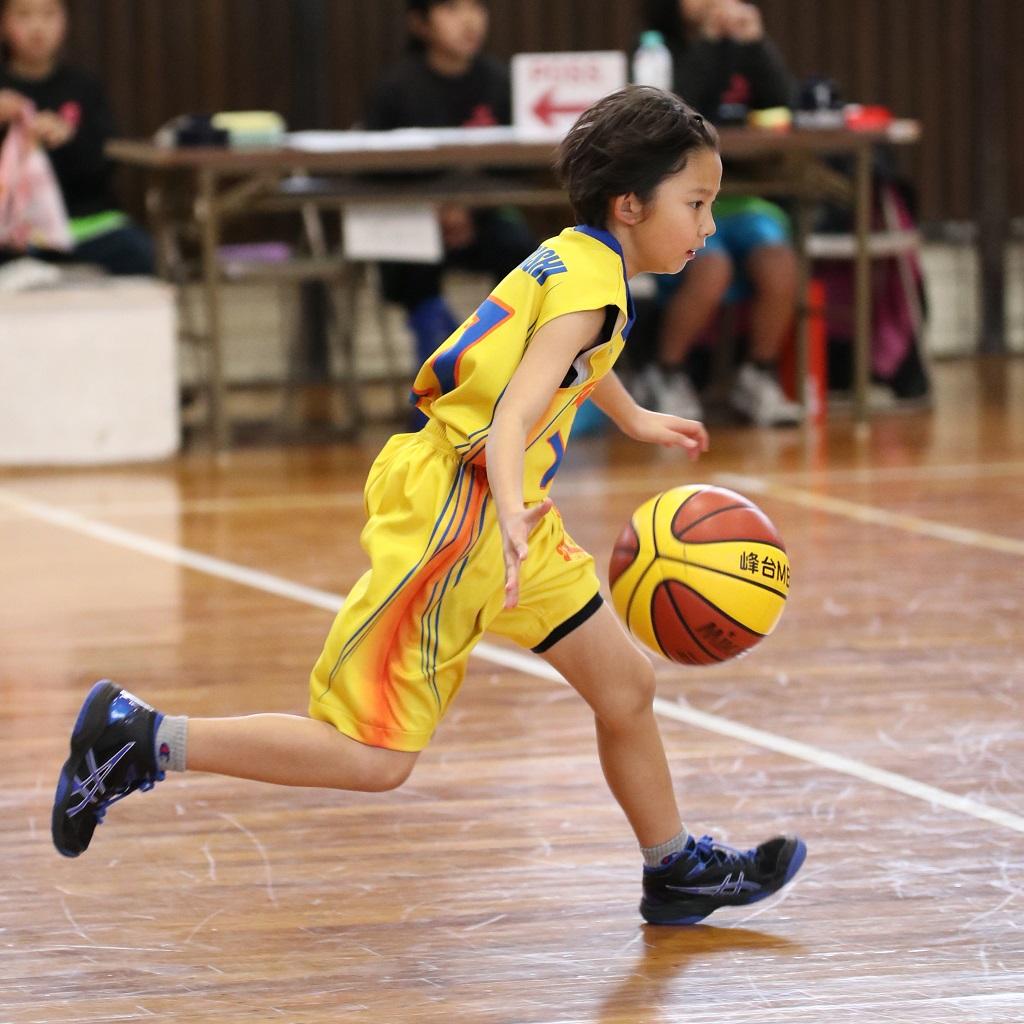 女子ミニバスケットボール写真 ドリブル