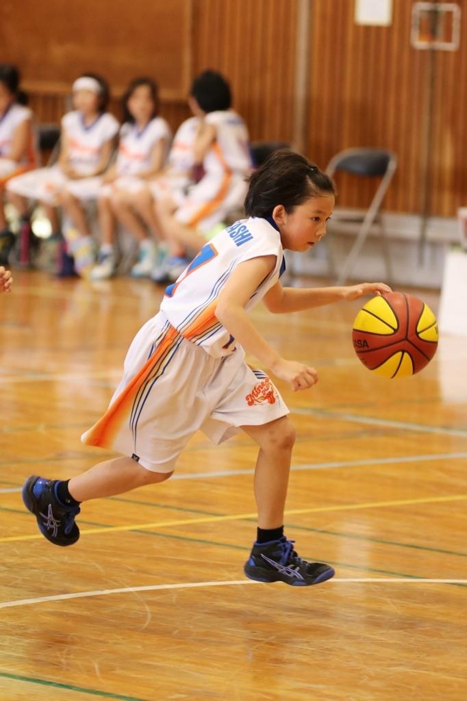 女子ミニバスケットボール ドリブル 写真