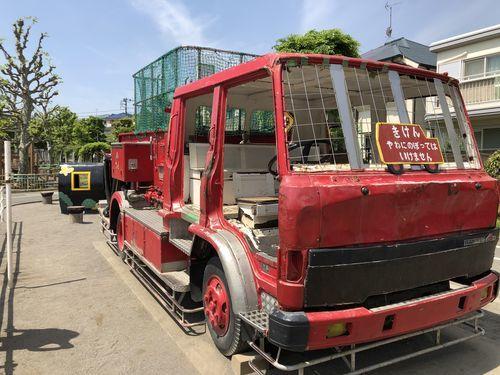 消防車とSL機関車