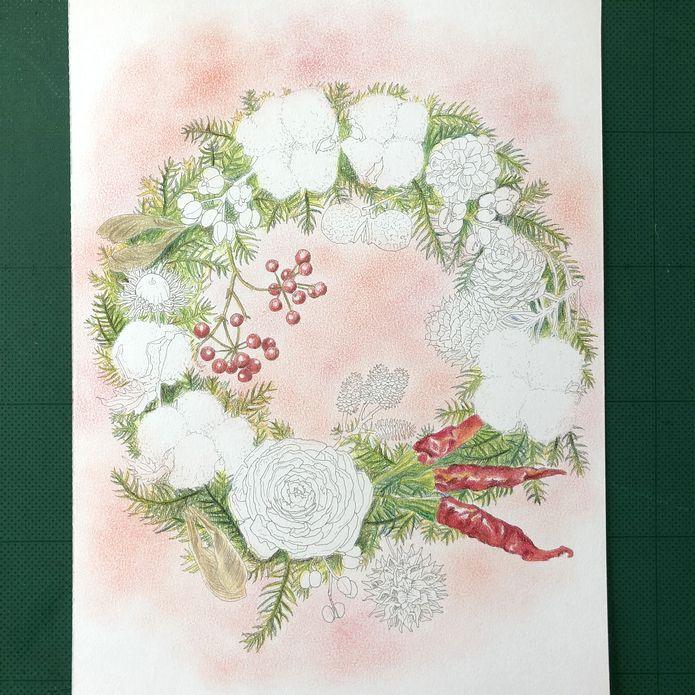 大人の塗り絵 四季の花のリース編クリスマスリースを塗るpart2