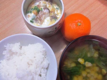 サバ缶入り茶碗蒸し朝食メニュー