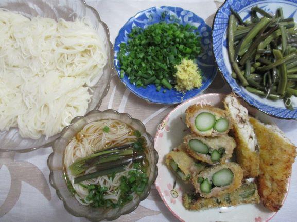 手延べ素麺・アスパラガスの豚肉巻きフライ