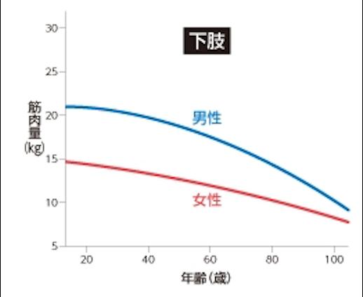 下肢筋力 年齢 グラフ