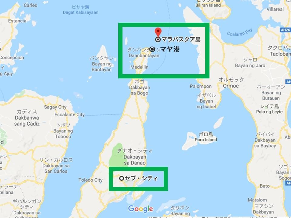 マラパスクア島とセブ島の地図
