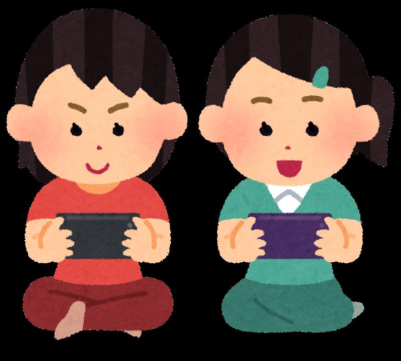 オンラインゲームをする子供たち