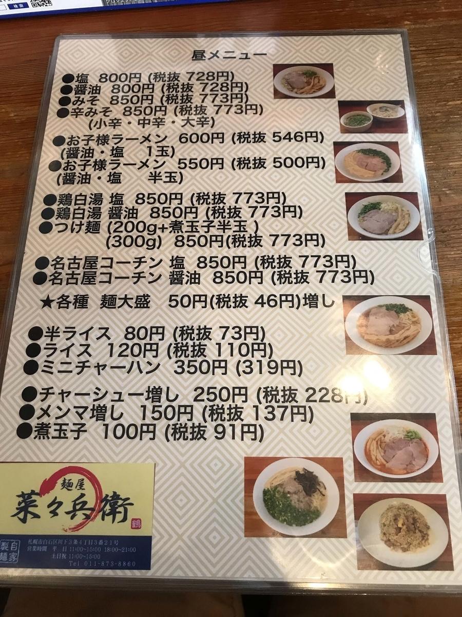 麺屋 菜々兵衛 メニュー