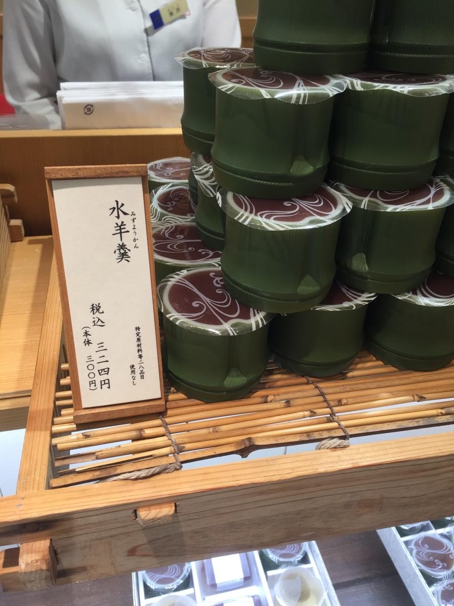 町田小田急百貨店B1Fにある叶 匠壽庵の店頭で実際に販売されていた水ようかんが陳列されている様子を撮影した写真