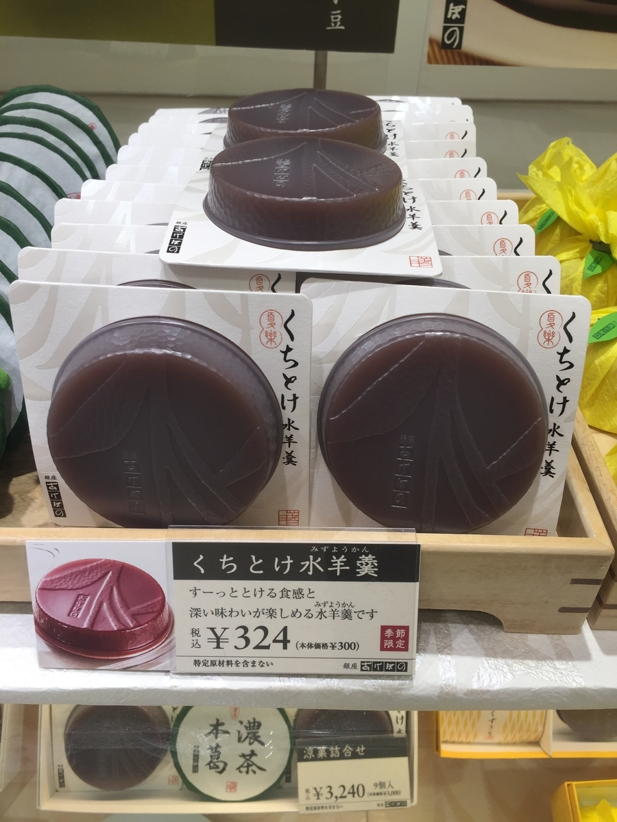 町田小田急百貨店B1Fにある銀座あけぼのの店頭で実際に販売されていた水ようかんが陳列されている様子を撮影した写真