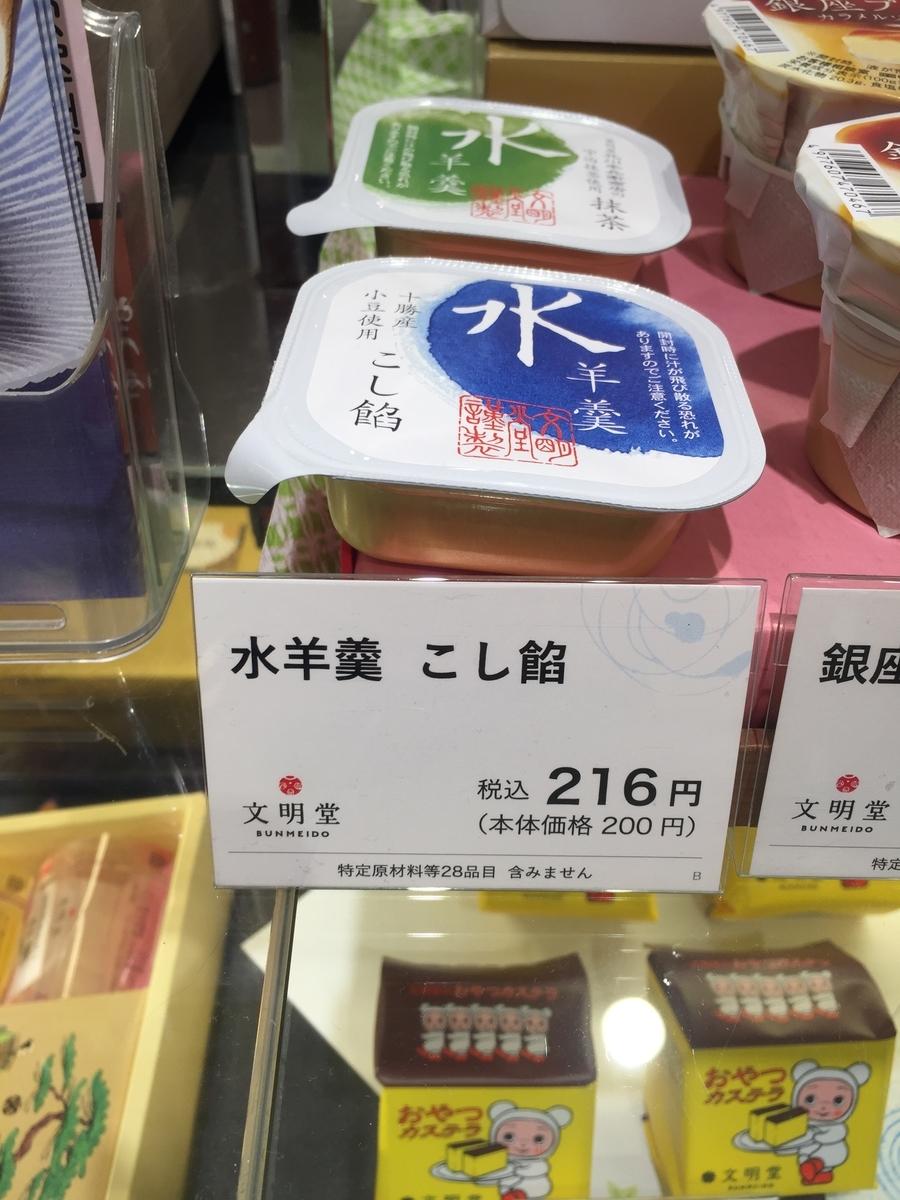 町田小田急百貨店B1Fにある文明堂の店頭で実際に販売されていた水ようかんが陳列されている様子を撮影した写真