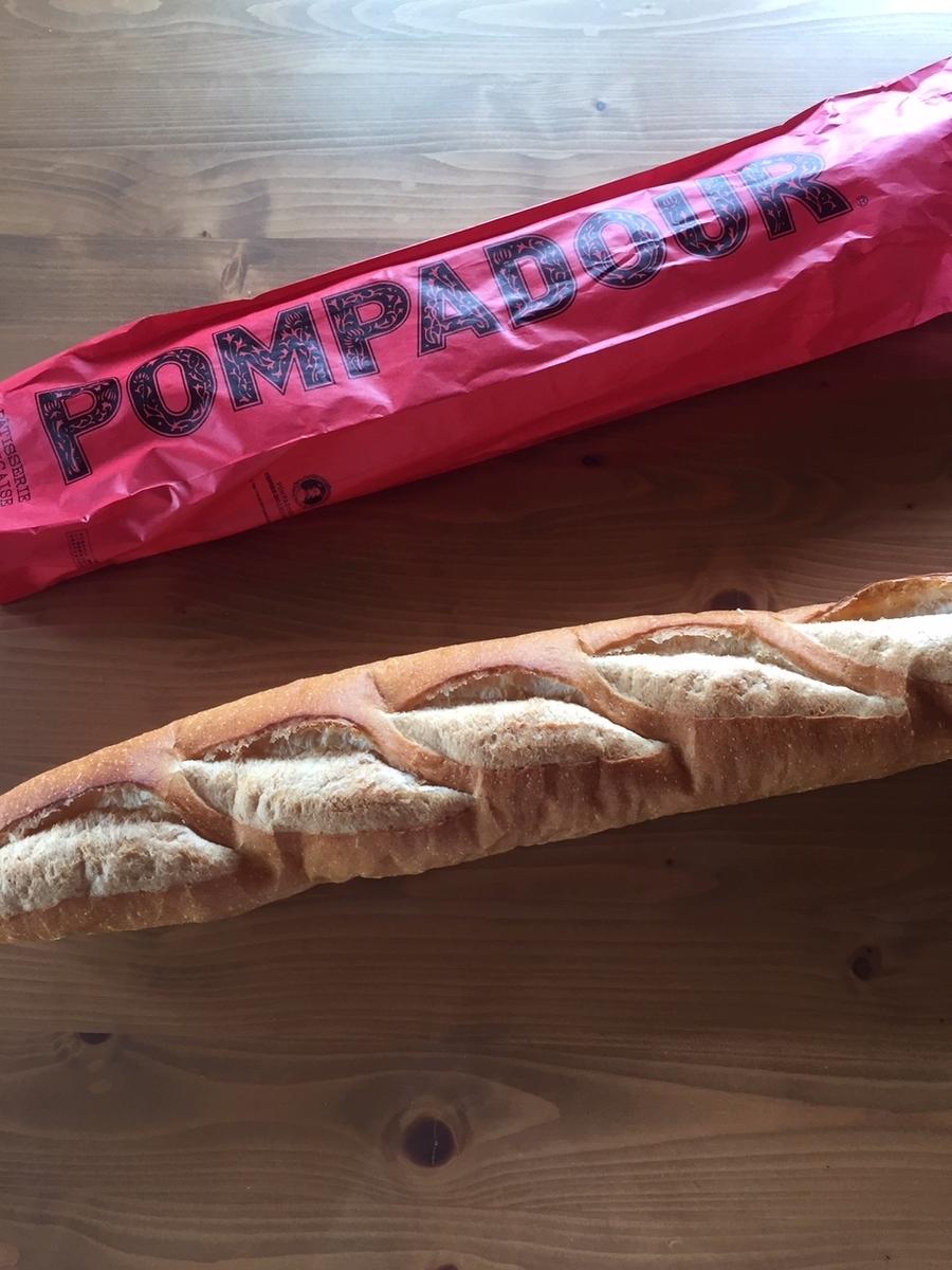 町田小田急百貨店B1Fにあるポンパドールのフランスパンを購入し自宅へ持ち帰った後、包装から出して撮影をした写真
