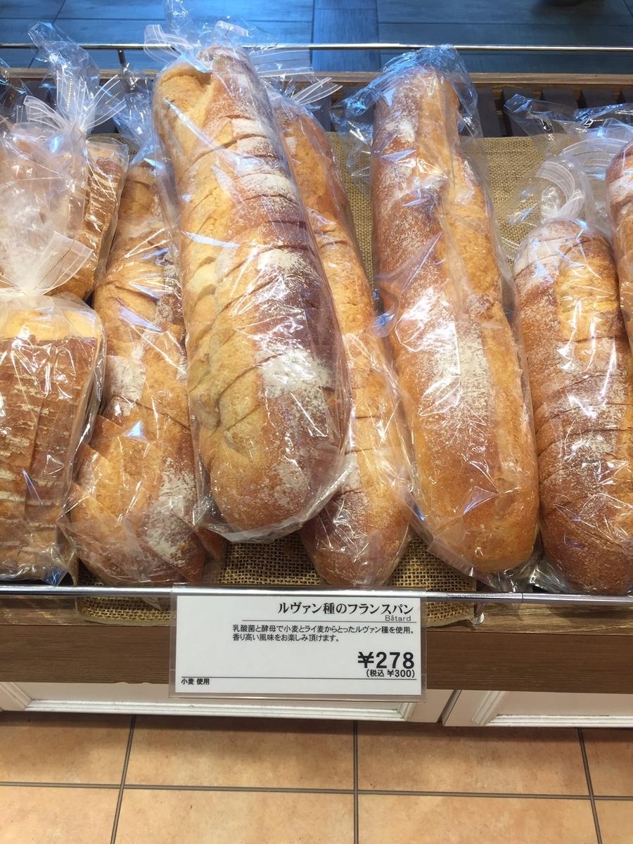 東京都町田市にあるアンテンドゥの店頭で実際に販売されていたフランスパンが陳列されている様子を撮影した写真