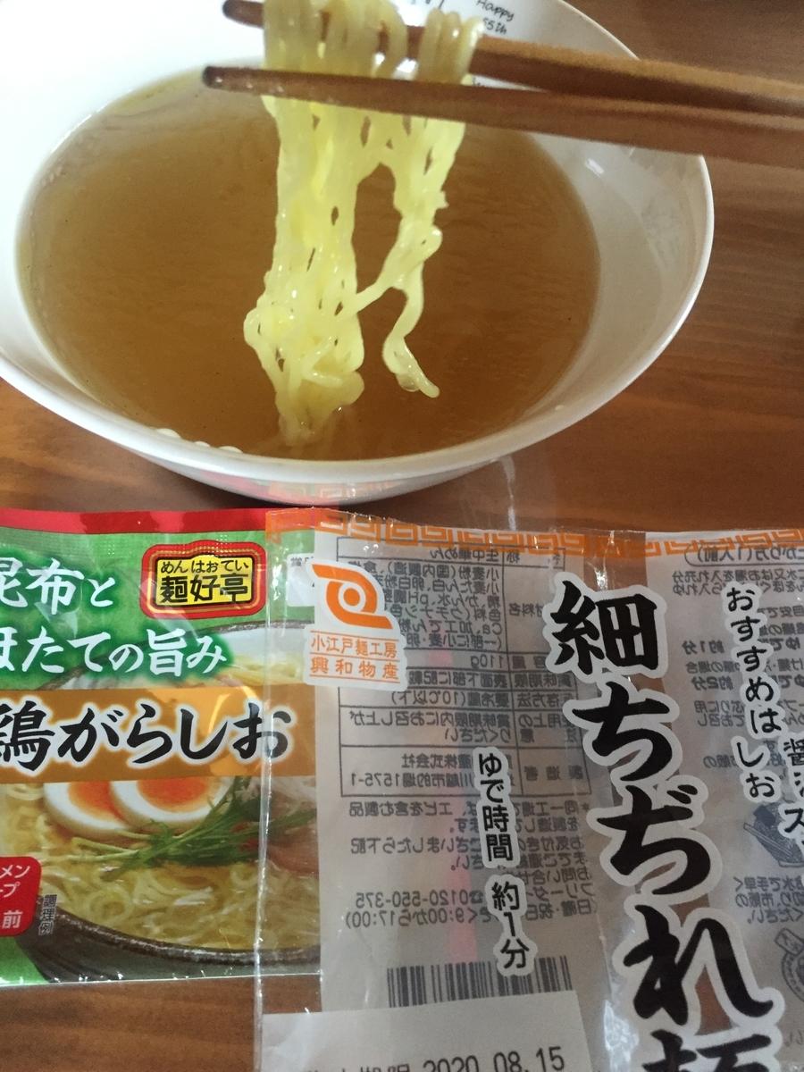 細ちぢれ麺に鶏がらしおスープを絡めて食べる様子を撮影した写真