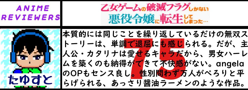 アニメ『乙女ゲームの破滅フラグしかない悪役令嬢に転生してしまった…』評価
