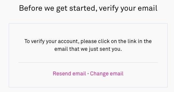 """""""Create Account をクリック後メール確認の画面へ遷移します"""""""