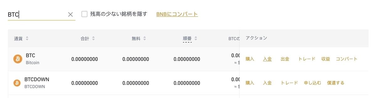 """""""BINANCEのBTC検索"""""""