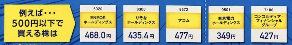 """""""ネオモバイル証券で500円以下で買える株"""""""