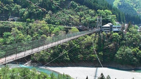 熟年夫婦谷瀬の吊橋2