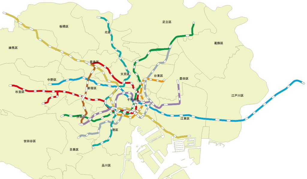 QGISで東京メトロ24時間券とメトロ・都営共通一日乗車券の範囲 ...