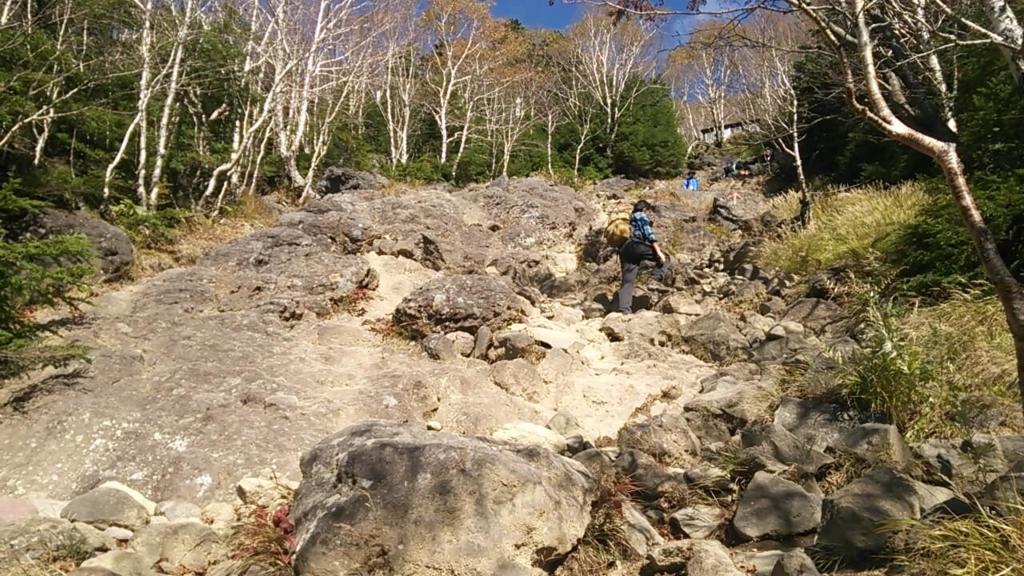 六合目の岩場